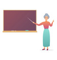 old woman teacher near blackboard trendy gradient vector image vector image
