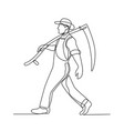 organic farmer walking scythe continuous line vector image vector image