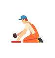 professional builder with rubber mallet male vector image vector image
