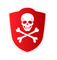 red shield with emblem of death and danger skull vector image vector image