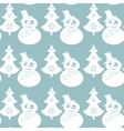 Seamless Christmas pattern with snowmans and trees vector image vector image