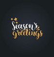 seasons greetings lettering design on black vector image vector image