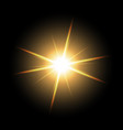 shining star on black background golden color vector image vector image
