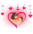 silhouette of mother and child in embraces vector image vector image