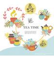 sketch tea time round concept vector image vector image