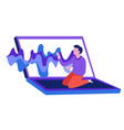 sound wave music from laptop man sitting on vector image