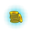 Stacks of gold coins icon comics style vector image vector image