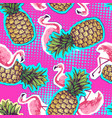 summer seamless bright pattern with flamingo an vector image vector image