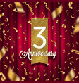three years anniversary golden signboard vector image