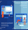 web site design and development process on vector image