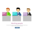 Working People Web Banner Man Works with Laptop vector image vector image