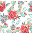 vintage seamless pattern with blooming flowers vector image