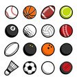 play sport balls logo icon isolated objects set vector image
