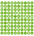 100 favorite food icons hexagon green vector image vector image