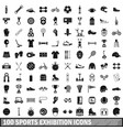 100 sports exhibition icons set simple style vector image vector image