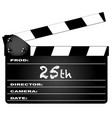 25th year clapperboard vector image vector image