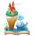 A book with a dolphin and an island with a castle vector image vector image