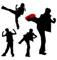 a few kicking girls sport silhouettes karate vector image