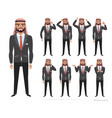 arab businessman character set of emotions and vector image vector image