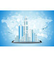 Background with City on Tablet Computer vector image vector image