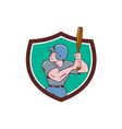 Baseball Player Batting Crest Cartoon vector image vector image