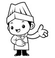 black and white cartoon cook mascot give guidance vector image vector image