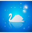 Blue shining background with white swan vector image