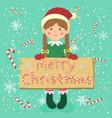 board candy cane christmas elf braid girl vector image vector image