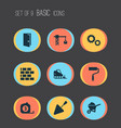 building icons set with bulldozer brickwork vector image vector image