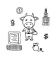 business bull the broker in a suit with a suitcase vector image