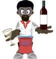 Cartoon african american waiter vector image vector image