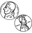 cartoon nickel and penny coins vector image vector image