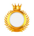 crown and laurel wreath realistic frame vector image vector image