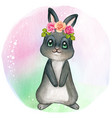 cute black nbunny with roses on head vector image