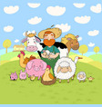 cute cartoon farmer and animals country man and vector image vector image
