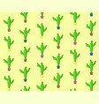cute cartoon seamless cactus pattern vector image vector image