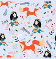 cute seamless pattern girl and wild animal fox vector image vector image