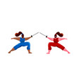 fencing women mask training duel swordswoman gym vector image vector image