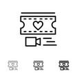 film heart love wedding bold and thin black line vector image vector image