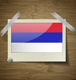 Flags Republika Srpska at frame on wooden texture vector image vector image