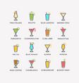 for bar menu set alcoholic cocktails vector image