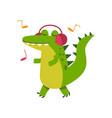 funny cartoon crocodile character in headphones vector image