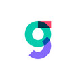 g letter logo overlapping color icon mark vector image vector image