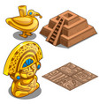 golden maya objects flooring and pyramid model vector image vector image