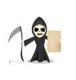 grim reaper show empty old paper vector image vector image