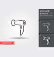 hairdryer line icon with editable stroke with vector image vector image
