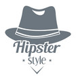 hipster hat logo simple style vector image