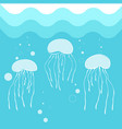 jellyfish swimming in blue sea water background vector image vector image