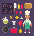 Kitchen Appliances and Food Male Cartoon Character vector image vector image