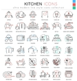 kitchen color flat line outline icons vector image vector image
